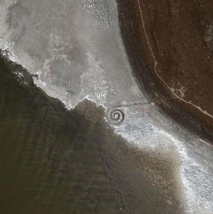 Spiral Jetty, Gran Lago Salado. Imagen satélite
