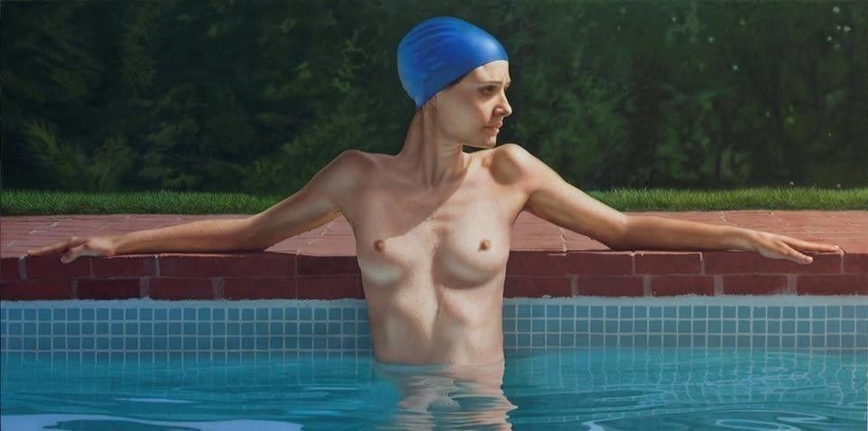 Bernardo Torrens. Sandra in the pool. 2014. Acrílico sobre tabla.