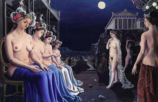 Paul Delvaux, Las Sirenas, 1979, Metropolitan Museum of New York.